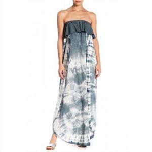Aakaa Dress Strapless Tie Dye Flowing Charcoal